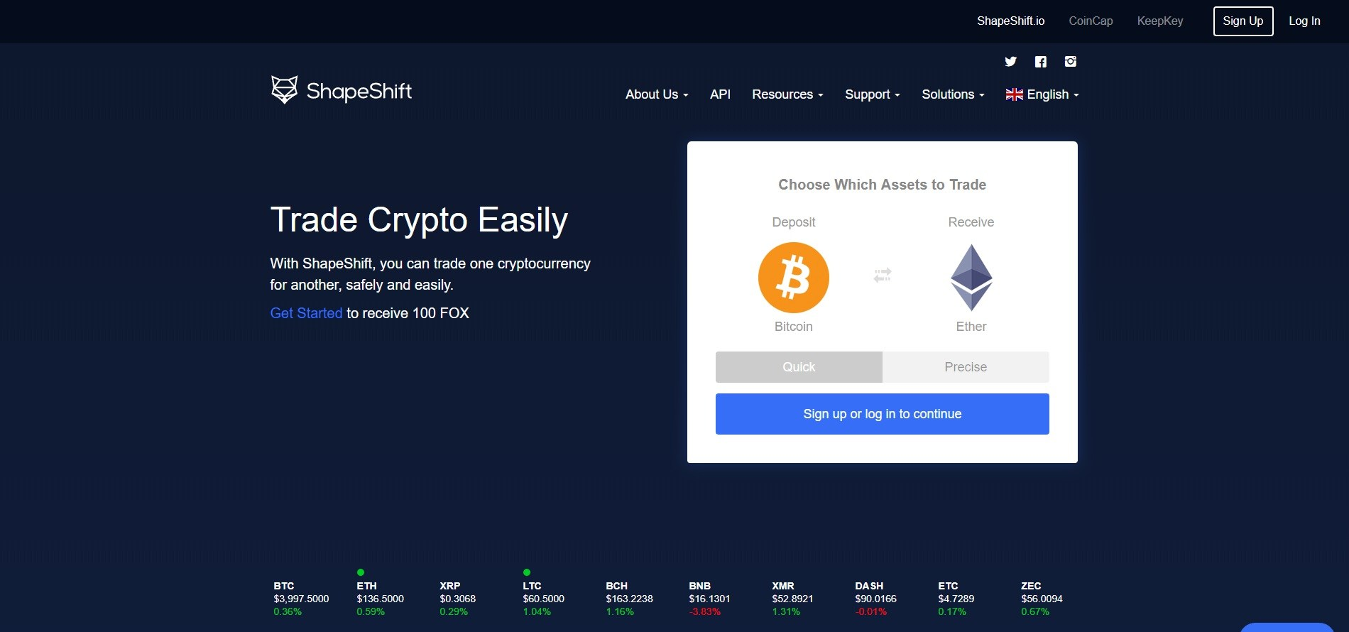 shapeshift trade crypto assets